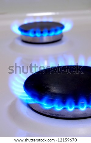 Flames of gas stove. Soft focus