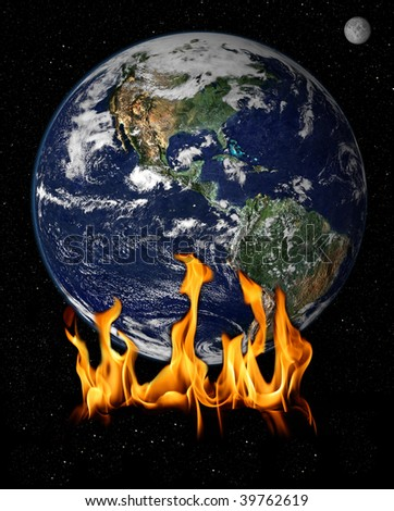 Flames over earth concept of global warming
