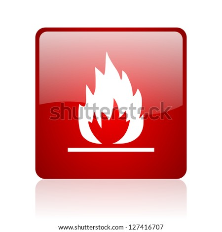 flames red square glossy web icon on white background