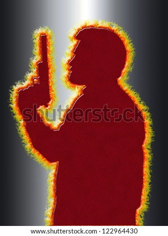 Flaming Assassin with Pistol with Silencer on 3D Black Background