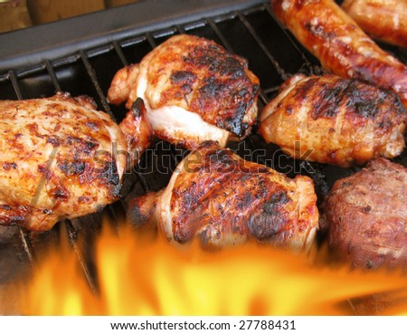 Flaming Barbecue with summer foods very appetising