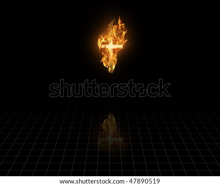 Flaming Cross in the dark