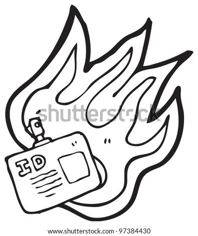 flaming ID badge cartoon