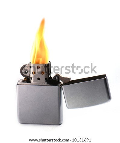 Flaming lighter isolated on white background