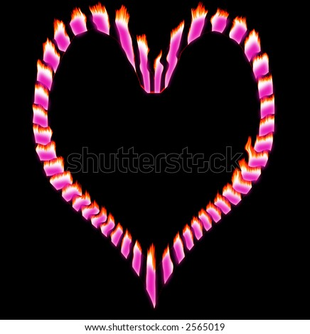 stock photo : Flaming pink broken heart with a black background