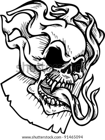 Flaming Skull Coloring Pages http://www.shutterstock.com/pic-91465094/stock-photo-flaming-skull-and-ribbons.html
