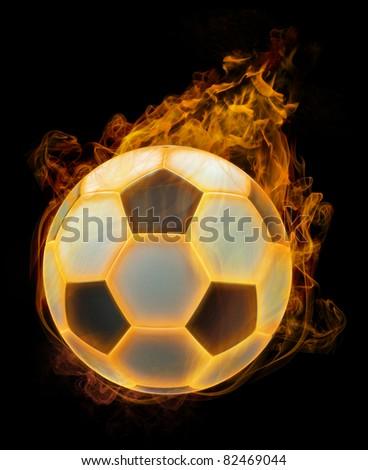 Flaming soccer ball - stock photo