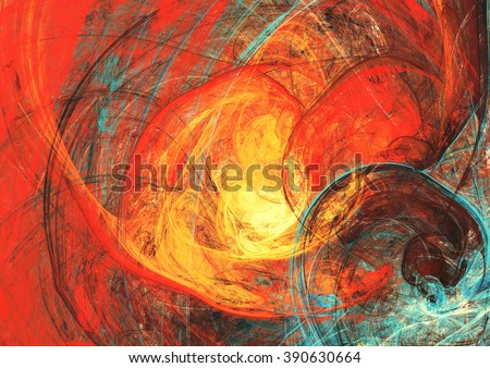 Flaming sun. Abstract painting texture in summer color. Modern futuristic red pattern. Bright color dynamic background. Fractal artwork for creative graphic design
