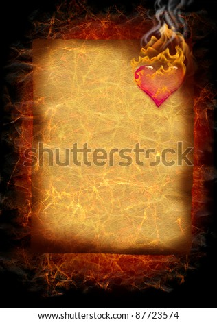 flaming valentine letter / heart