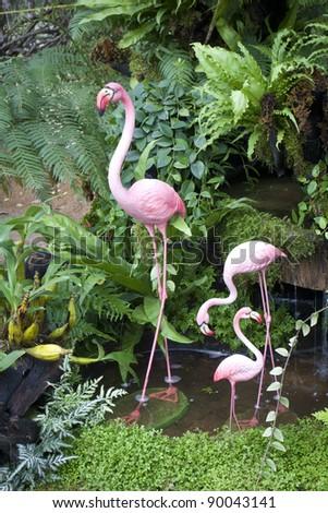 Flamingo bird model in the garden