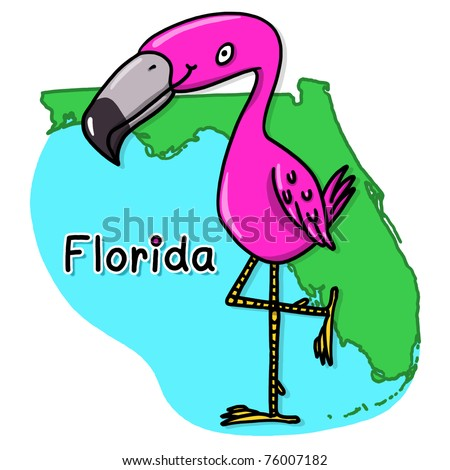 Flamingo over the state of Florida map illustration; Pink flamingo cartoon