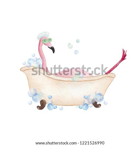 Flamingo taking a bath. Hand drawn watercolor illustration