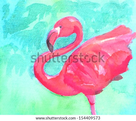 Flamingo  watercolor sketch