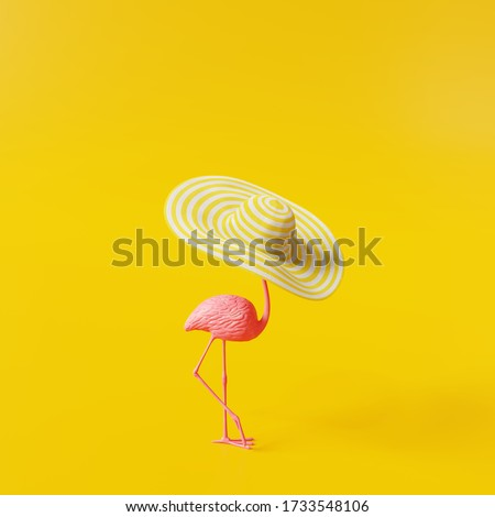 Flamingo with hat on yellow background. Summer minimal concept. 3d rendering