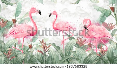 flamingos in tropical plants on a textured background in light colors in a watercolor style Foto stock ©