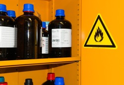 Flammable Chemicals in Protection Cabinet