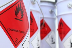 Flammable liquid symbol on the chemical tank