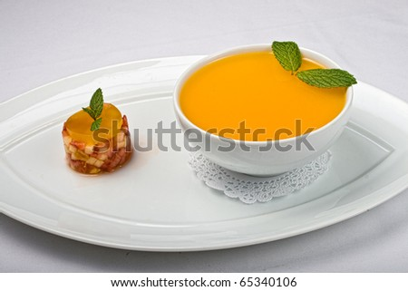 Flan with mint leaves - stock photo