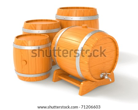 Flank wooden with iron hoops and crane for a liquid on a white background
