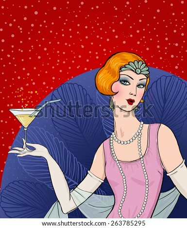 Flapper girl: Retro party invitation design.Art deco women with glass.Retro birthday invitation. Great Gatsby style party. Jazz party invitation poster or card design.