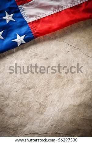 flapping flag USA with wave - stock photo