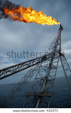 Flare boom on offshore oil rig in the North Sea