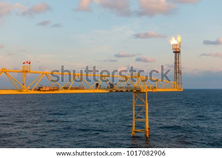 Flare stack and flare bridge while burning toxic gas and release over pressure of production process in sunset time. #1017082906