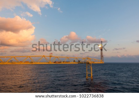 Flare stack and flare bridge while burning toxic gas and release over pressure of production process in sunset time. #1022736838
