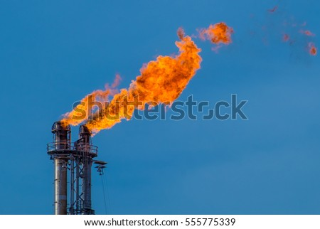 Flare stack at petroleum refinery in Port Arthur Texas #555775339
