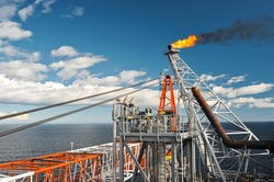 Flare system of the sea oil production platform