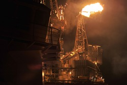 Flare system on the sea oil platform
