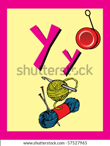 Flash Card Letter Y nouns. There is one for each letter. Raster JPG. Flash Cards and stickers make learning fun. Also available as a vector.