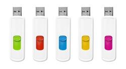 Flash drives set isolated on white background.