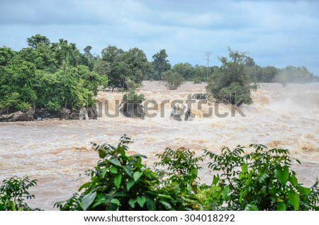 Flash flood fast water come through Flash flood The impact of global warming The major cause heavy flooding. Including the impact of deforestation. No trees slow the water. flood insurance Stock photo ©