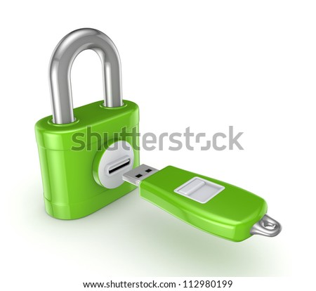 Flash memory connected to iron safe.Isolated on white background.3d rendered.