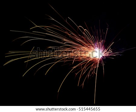 Flash of electric welding with sparks #515445655