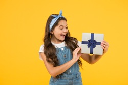 flash sale purchasing. summer retro child. happy girl received present box. surprise for her. happy birthday gift. childhood happiness. concept of boxing day. shopping for kids. reward and prize.