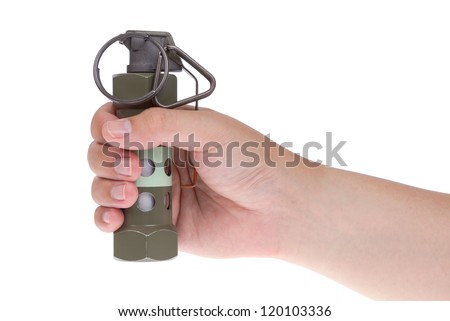 Flashbang grenade in hand isolated on white