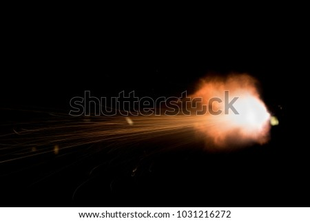 Stock Photo flashes and explosions during the shot with the machine