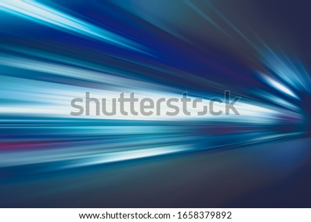 FLASHING LIGHTS OF SPEED MOTION LINES ON THE NIGHT HIGHWAY ROAD, CITY TRANSPORATION BACKGROUND Stockfoto ©