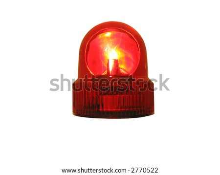 flashing red emergency light that is isolated on white