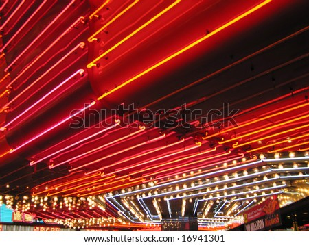 Flashing red Neon Signs of Freemont Casino Las Vegas Nevada America USA
