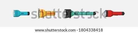 Flashlight of light flat set icon. Flashlight lighting with spotlight or flash. Illustration set of flashing light lantern isolated on white background. Photo stock ©