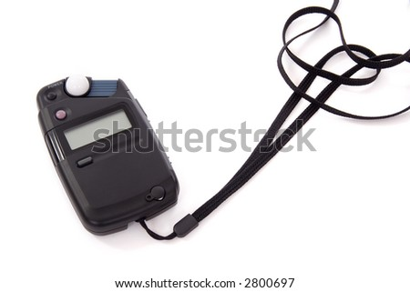 Flashmeter with neck strap over white background