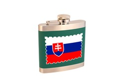 Flask for alcohol with the flag of Slovakia. Slovak alcohol