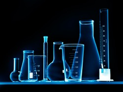 Flask with chemicals and test tubes
