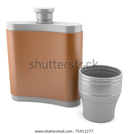 Flask with cup isolated on white background