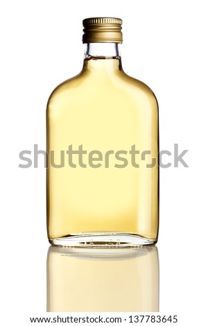 Flask with hard liquor isolated