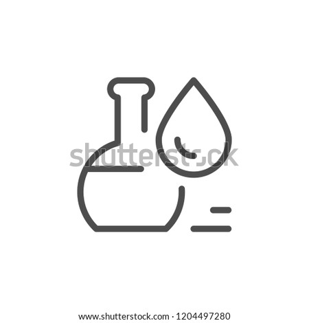 Flask with liquid line icon isolated on white