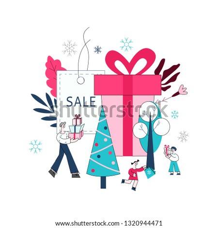 flat adult man, girl and boy kids holding presents, shopping bags with purchases made during store clearance and discounts on background of decorated christmas tree, present box.